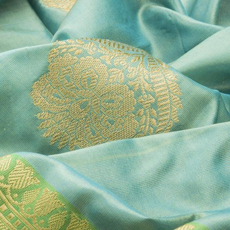 HANDWOVEN BLUE BANARASI SILK SARI-WIIBT120- fabric view