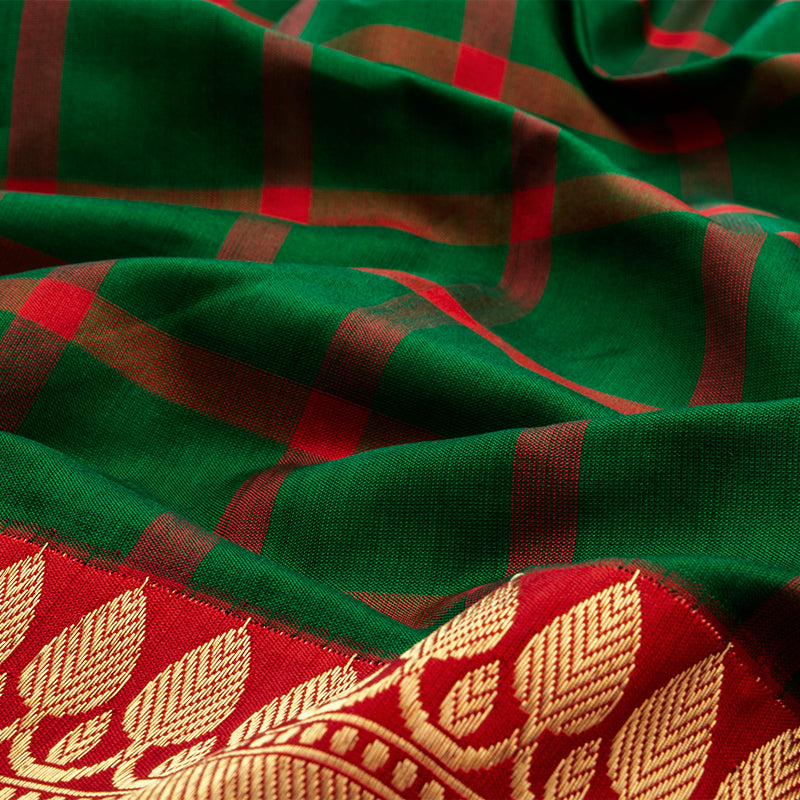 Emerald Green and Crimson Red Kanjivaram Saree