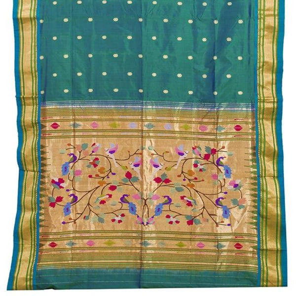 Handwoven Paithani Silk Sari with Peacock Pattern-WIISHNIKARIDNAM0196 - Full VIew