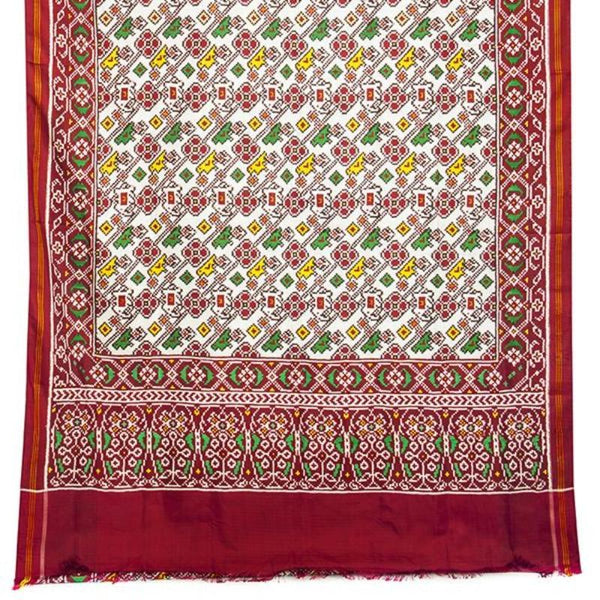 Handwoven Patan Patola Double Ikat Sari with Parrot Motif-WIITNKP020 - Full View