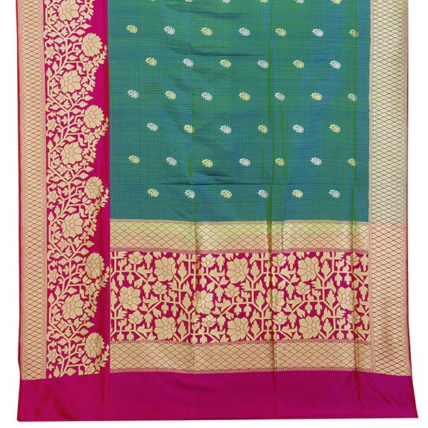 HANDWOVEN BLUE- GREEN DUAL SHADE BANARASI SILK SARI-WIIBT110-Full View