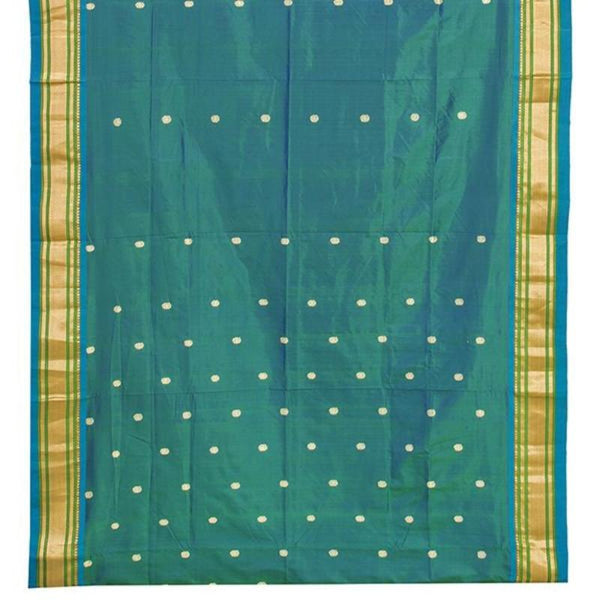 Handwoven Paithani Silk Sari with Peacock Pattern-WIISHNIKARIDNAM0196 - Design View
