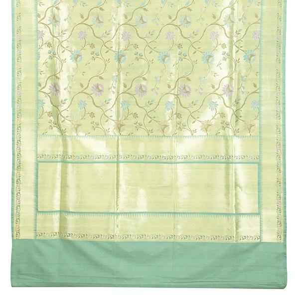 Handwoven Paithani Silk Sari with Floral Pattern-WIISHNIKARIDNAM0153 - Full View
