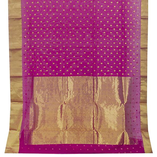 Handwoven Fuchsia Chanderi Silk Sari with Coin Buttas - WIIHSBHARIDNAM011 - Full View