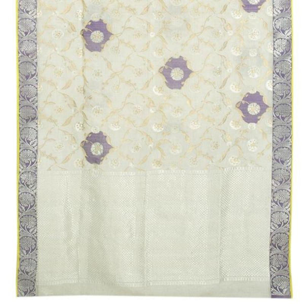 Handwoven Pearl White Kota Silk Sari with Jaali Creepers - WIINRM036
