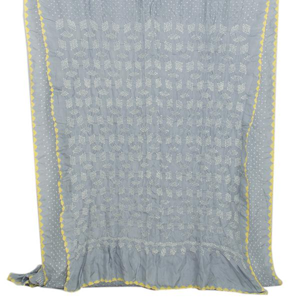 Handwoven Ice Grey Bandhani  Sari - WIIAJB287 128  - Full View