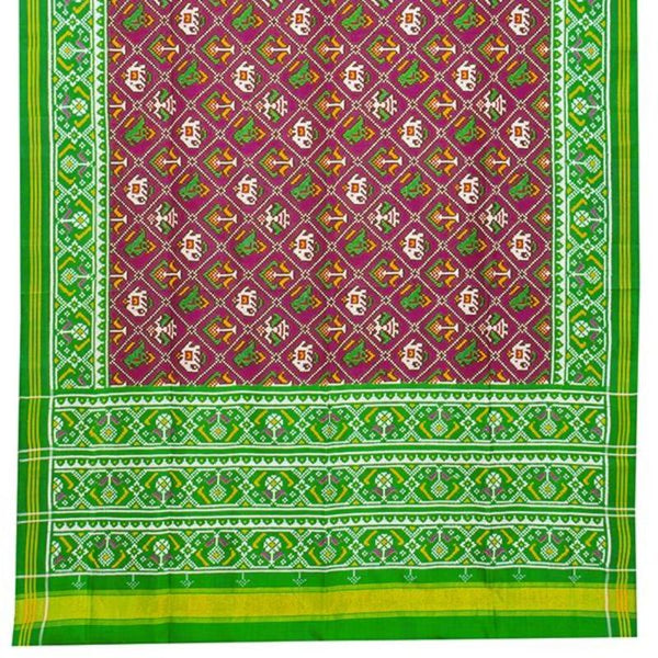 HANDWOVEN GREEN AND PINK 4 FIGURE DOUBLE IKAT PATAN PATOLA SILK SARI-WIITNKP025- Full View