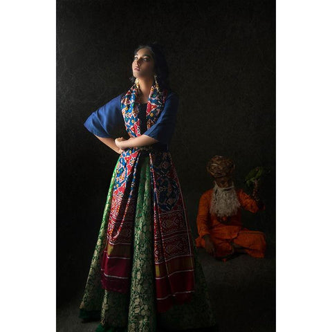 Kimkhab Lehanga with blue silk blouse