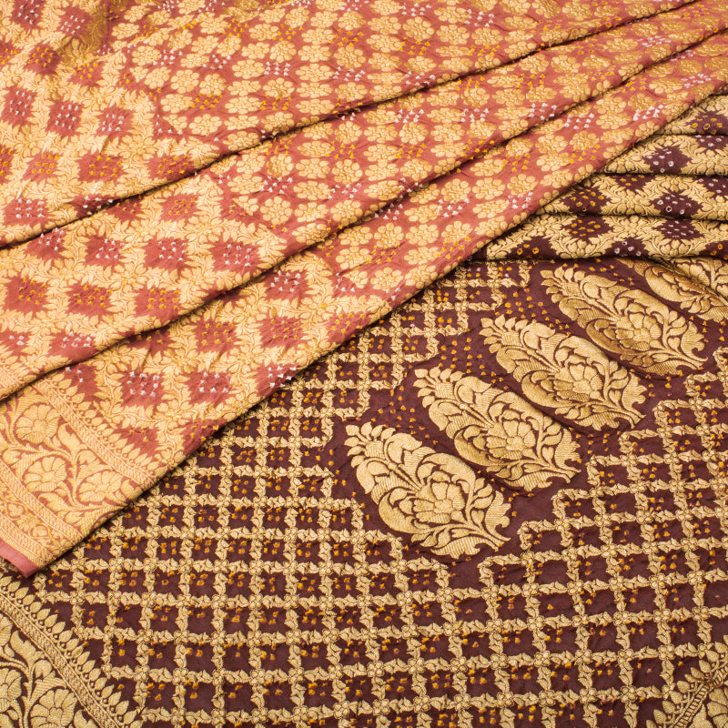 Nude Brown Shaded Bandhani Saree