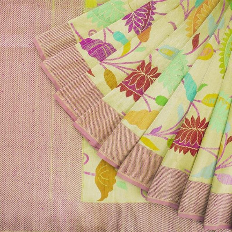 Handwoven Paithani Silk Sari with Floral Pattern-WIISHNIKARIDNAM0190 - Cover View