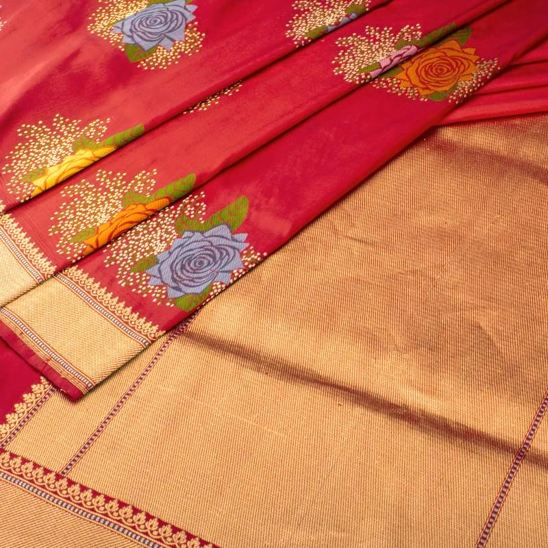 Crimson Red Banarasi Silk Saree