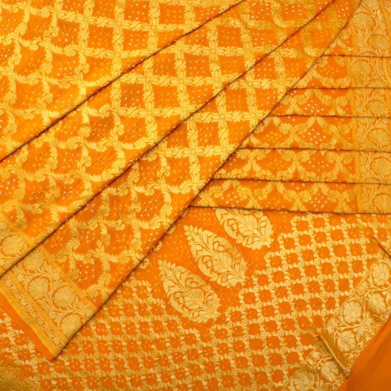 Mustard Yellow Bandhani Saree