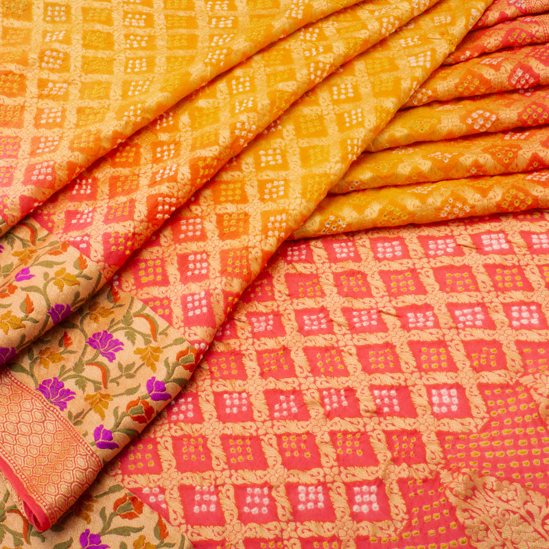 Mango to Strawberry Shaded Bandhani Saree