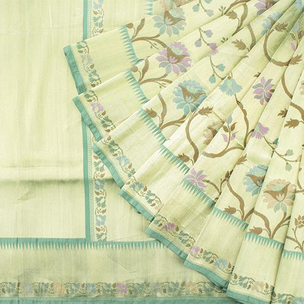 Handwoven Paithani Silk Sari with Floral Pattern-WIISHNIKARIDNAM0153 - Cover View