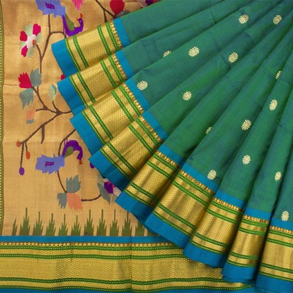 Handwoven Paithani Silk Sari with Peacock Pattern-WIISHNIKARIDNAM0196 - Cover View