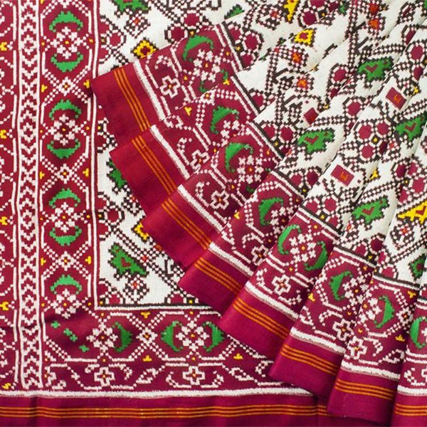 Handwoven Patan Patola Double Ikat Sari with Parrot Motif-WIITNKP020 - Cover View