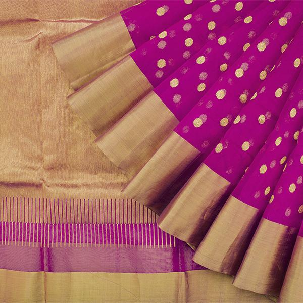 Handwoven Fuchsia Chanderi Silk Sari with Coin Buttas - WIIHSBHARIDNAM011 - Cover View