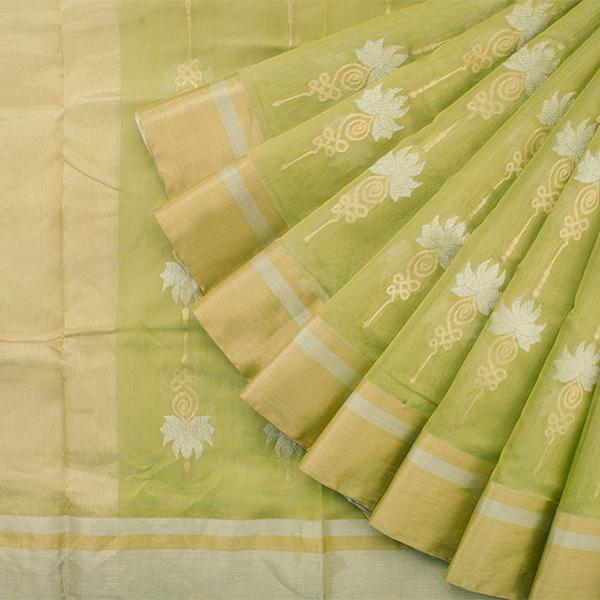 Handwoven Lime Green Royal Chanderi Silk Sari - WIIHSBHARIDNAM016 - Cover View