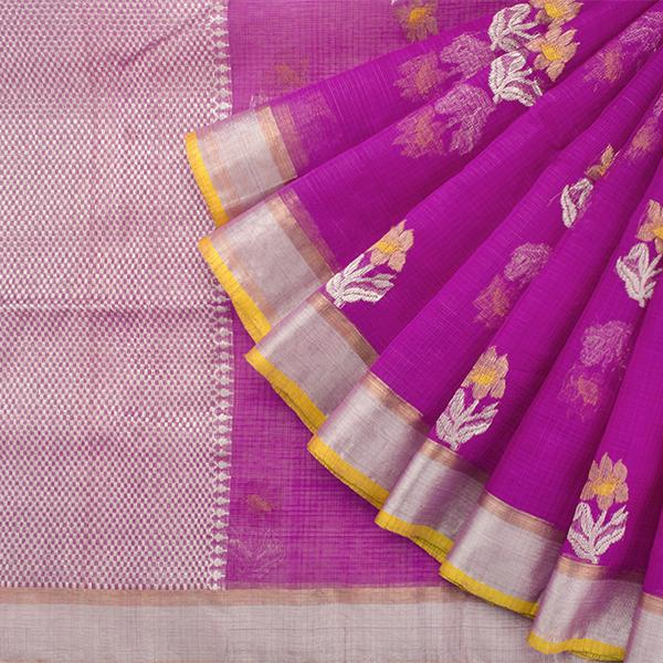 Handwoven Thulian Pink Kota Sari with Floral Buttas - WIINRM025 - Cover View