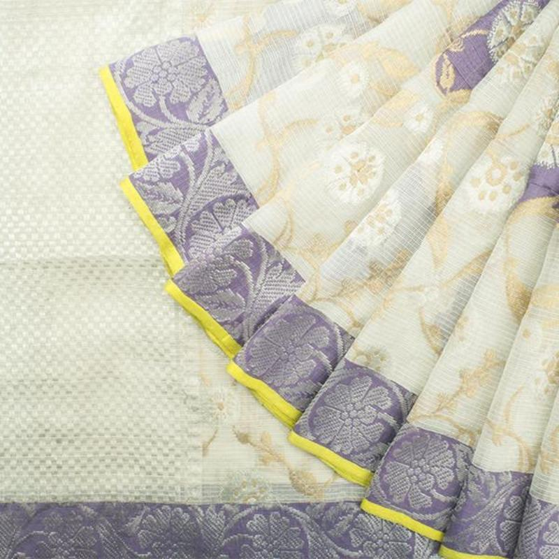 Pearl White Kota Silk Saree with Jaali Creepers