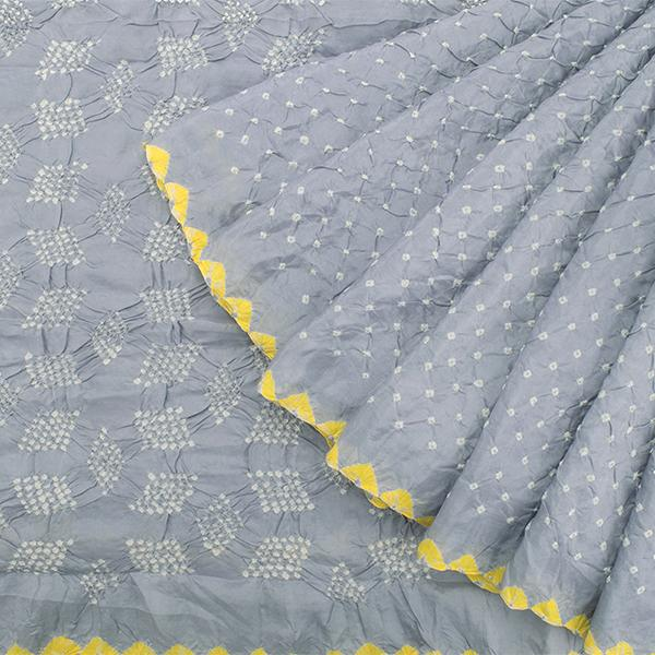 Handwoven Ice Grey Bandhani  Sari - WIIAJB287 128  - Cover View