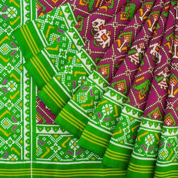 HANDWOVEN GREEN AND PINK 4 FIGURE DOUBLE IKAT PATAN PATOLA SILK SARI-WIITNKP025- Cover View