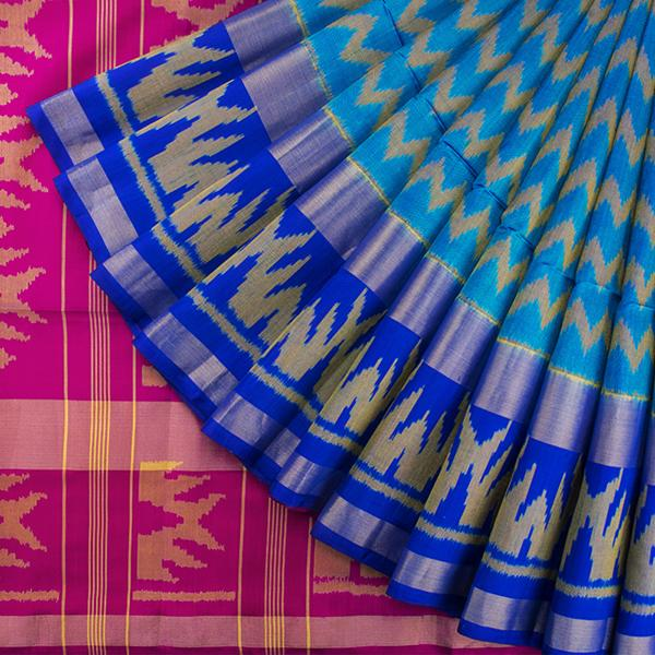 HANDWOVEN BLUE AND RANI PINK SINGLE IKAT SARI-WIIAJB287 128- Cover View