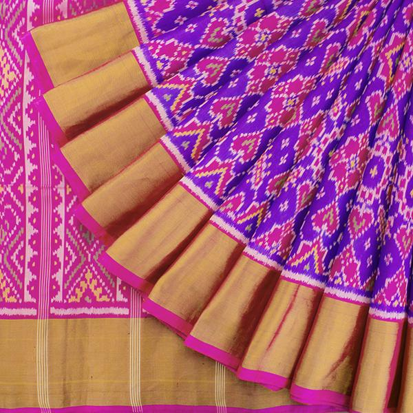 HANDWOVEN PURPLE AND PINK SINGLE IKAT RAJKOT PATOLA SARI-WIISHNIKARIDNAM0176- Cover View