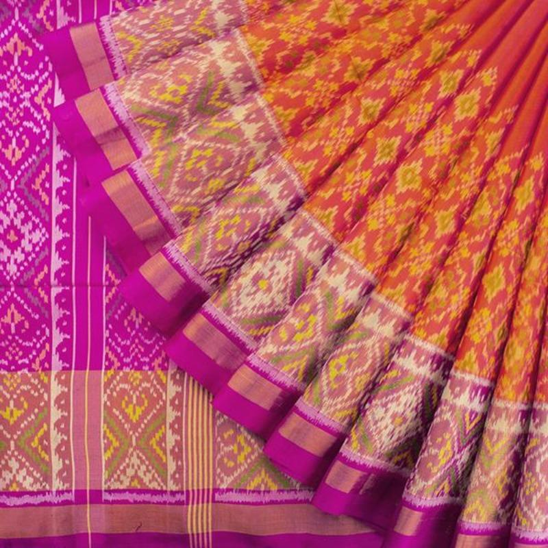 HANDWOVEN PINK AND ORANGE RAJKOT SINGLE IKAT PATOLA SARI-WIIPATANARIDNAM2980219A- Cover View