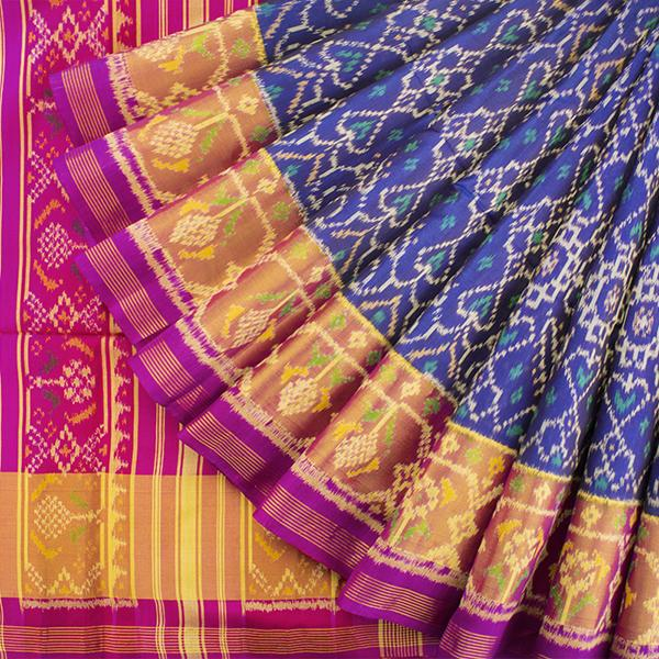 HANDWOVEN NAVY BLUE AND PINK SINGLE IKAT RAJKOT PATOLA SARI-WIIPATANARIDNAM1860719- Cover View