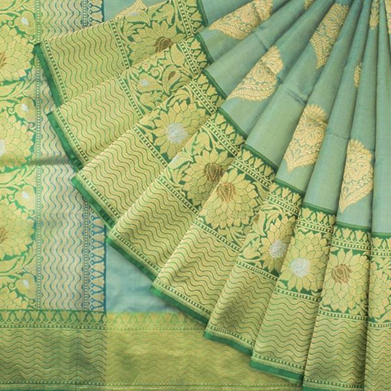 HANDWOVEN BLUE BANARASI SILK SARI-WIIBT120- Cover View