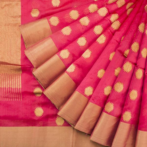 HANDWOVEN CORAL ROYAL CHANDERI SARI-WIIHSBHARIDNAM008- Cover View