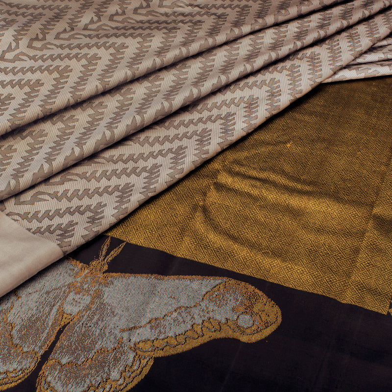 Grey and Black Kanjivaram Silk Saree