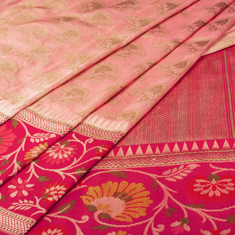 Salmon Pink Tissue Banarasi Silk Saree