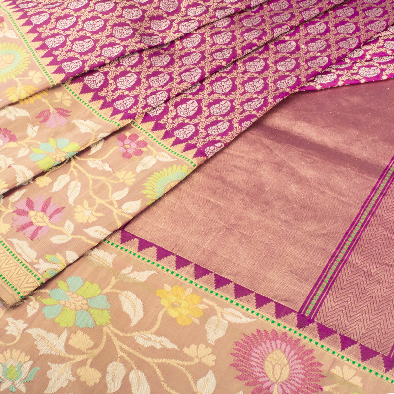 Aubergine Purple Banarasi Silk Saree
