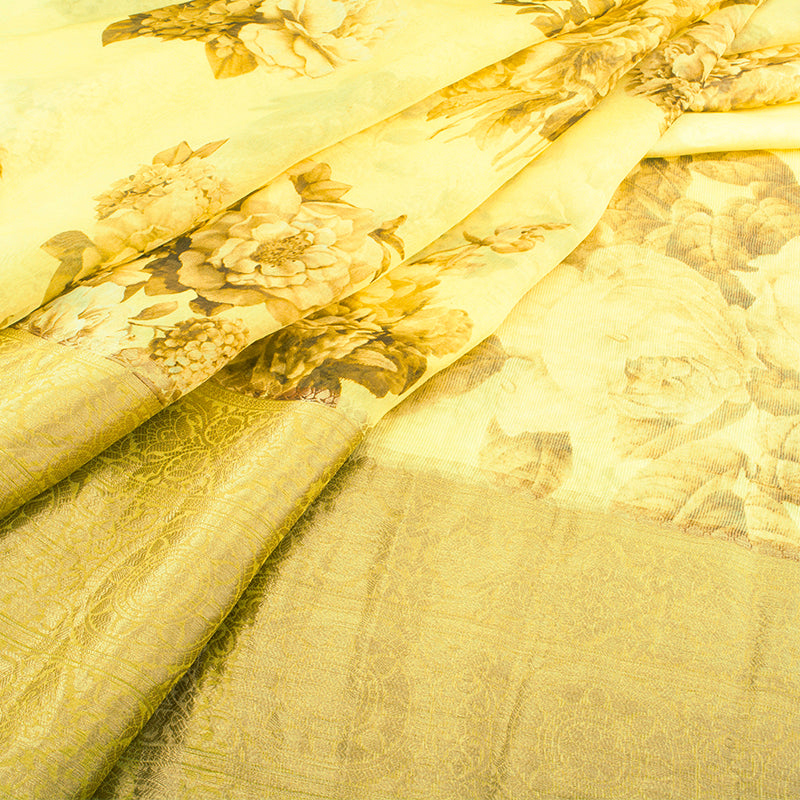 Pale Yellow Digital Printed Organza Saree