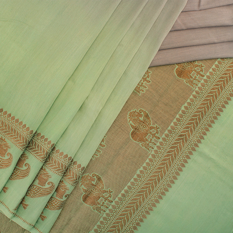 Green Shaded Munga Silk Saree