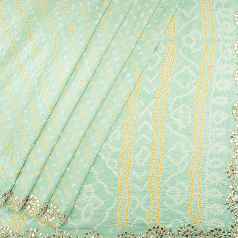 Hand-Embroidered Teal Blue Bandhani Saree