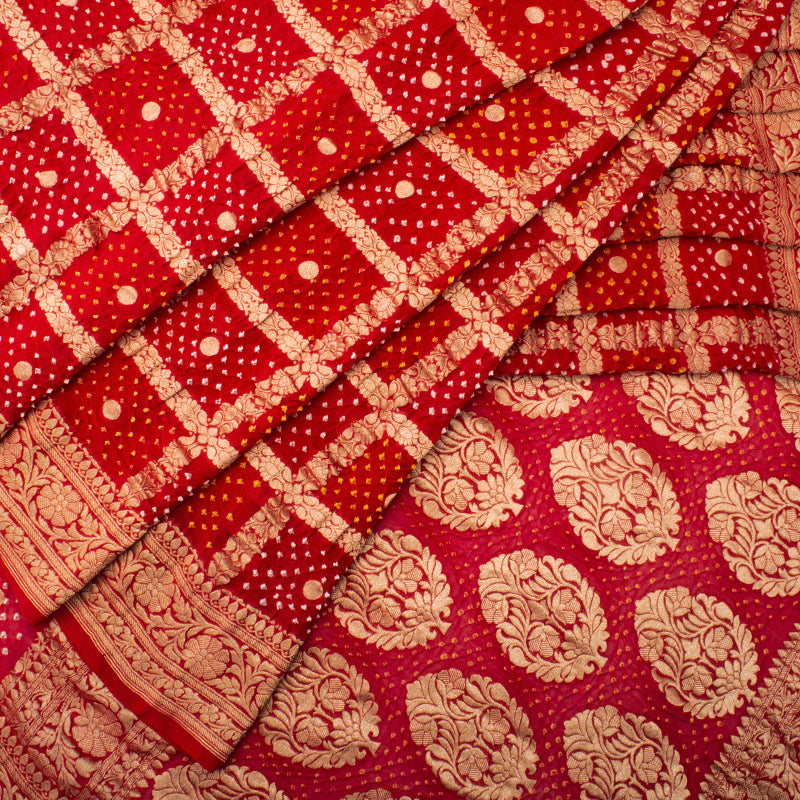Red Gharchola Bandhani Saree