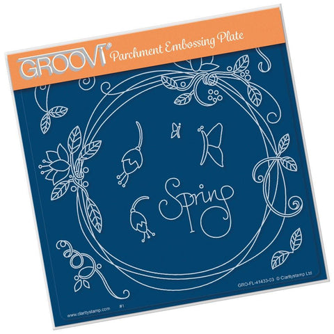 Entwined Spring Circle Wreath <br/>A5 Square Groovi Plate