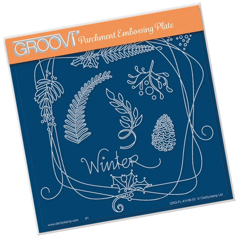 Entwined Winter Square Wreath <br/>A5 Square Groovi Plate