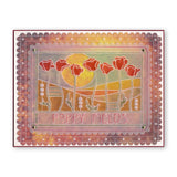 Art Nouveau Poppy Fields A6 Groovi Plate (Set GRO-FL-40881-02)