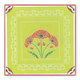 Art Nouveau Poppies A5 Square & Groovi Border Plate Set