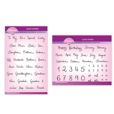 Barbara's Relations and Months & Numbers Stamp Sets
