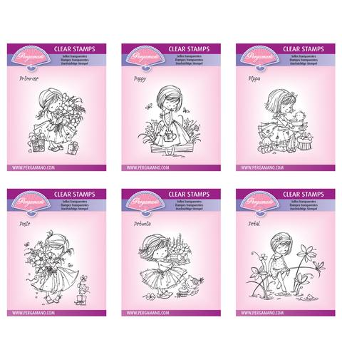 Flower Poppets Stamp Collection Artwork by Marina Fedotova