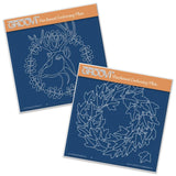 Oak Deer & Ivy Wreath <br/>A5 Square Groovi Plate Set