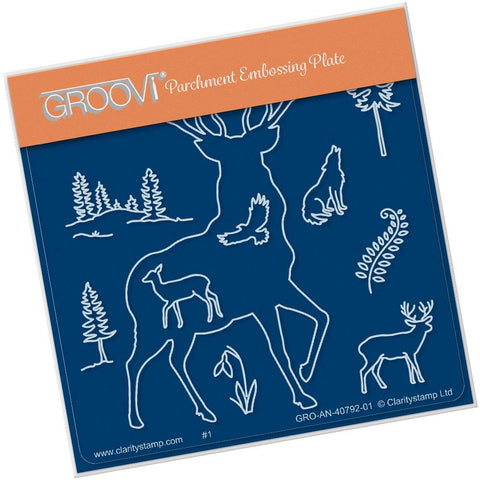 Stag Outline <br/>A6 Square Groovi Baby Plate <br/>(Set GRO-CH-40821-01)