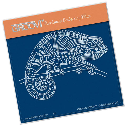 Stripey Chameleon 2 <br/>A6 Square Groovi Baby Plate