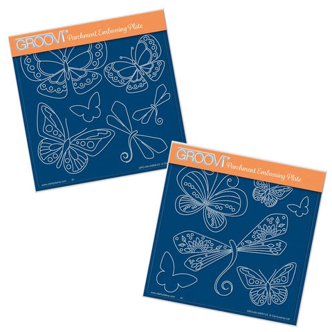 Tina's Butterfly & Dragonfly Fun <br/>A5 Square Groovi Plate Set