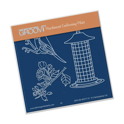 Small Garden Bird with Feeder <br/>A6 Square Groovi Baby Plate <br/>(Set GRO-BI-40284-01)